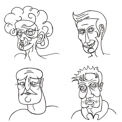 Four Lined Characters, Illustration, characters on paper