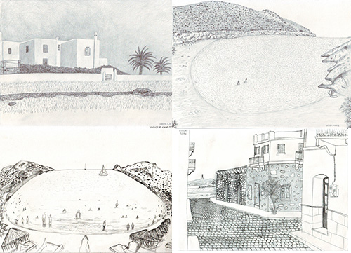 Syros island, drawings-sketches with pencil