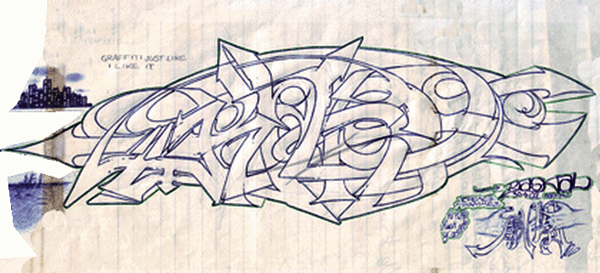 RAS - Wild style Graffiti on Paper